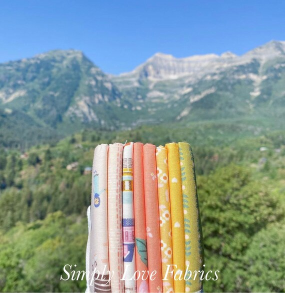 Community- 1/2 Yard Bundle (8 Coral/Yellow Fabrics) by Citrus and Mint Designs for Riley Blake Designs
