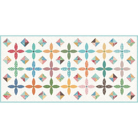 """Flea Market Table Runner Boxed Kit - Finished Size 30"""" x 62"""" by Lori Holt of Bee in My Bonnet for Riley Blake Designs- KTB-18050"""