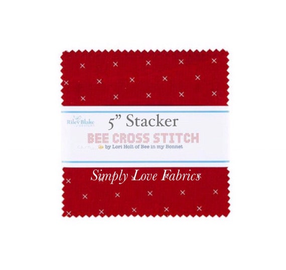 """Bee Cross Stitch- 5"""" Stacker (5-745-42 Fabrics) by Lori Holt for Riley Blake Designs"""
