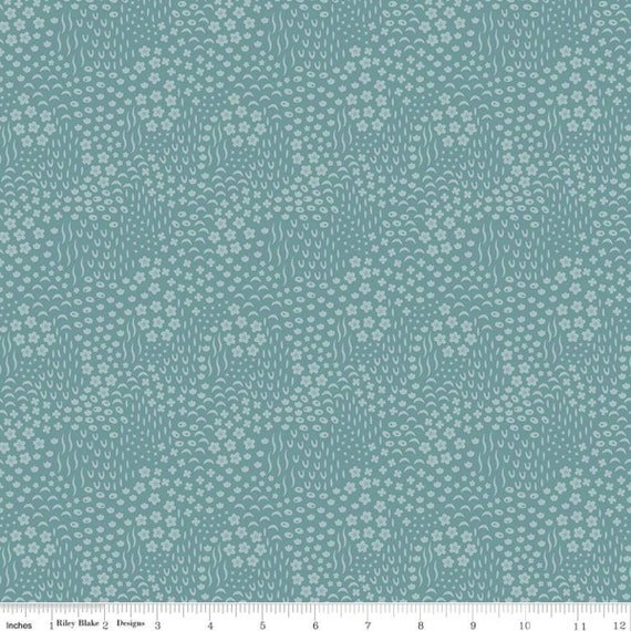 Primrose Hill - 1/2 Yard Increments, Cut Continuously Teal Meadow - C11064  by Melanie Collette for Riley Blake Designs