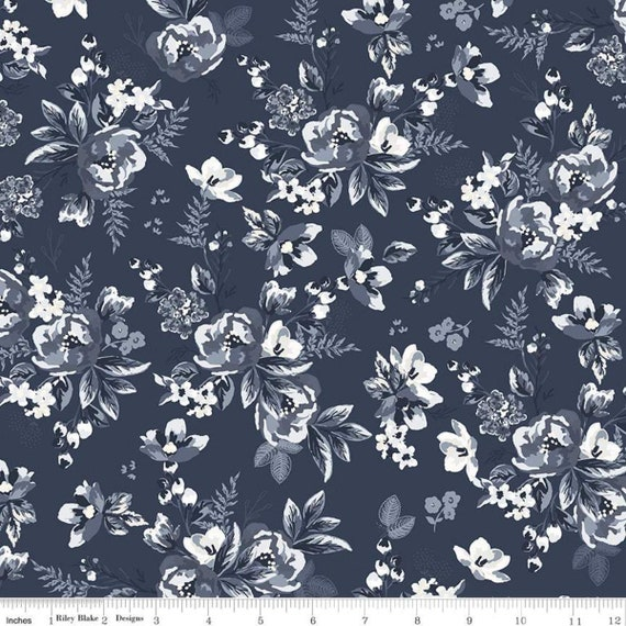 Gingham Foundry - 1/2 Yard Increments, cut continuously - Navy Floral - C11131  by My Minds Eye for Riley Blake Designs