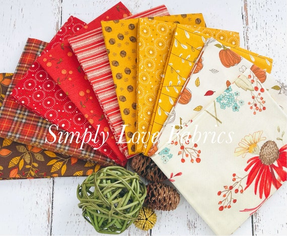 Adel in Autumn - Fat Quarter Bundle (10 Fabrics Cream Main) by Sandy Gervais for Riley Blake Designs