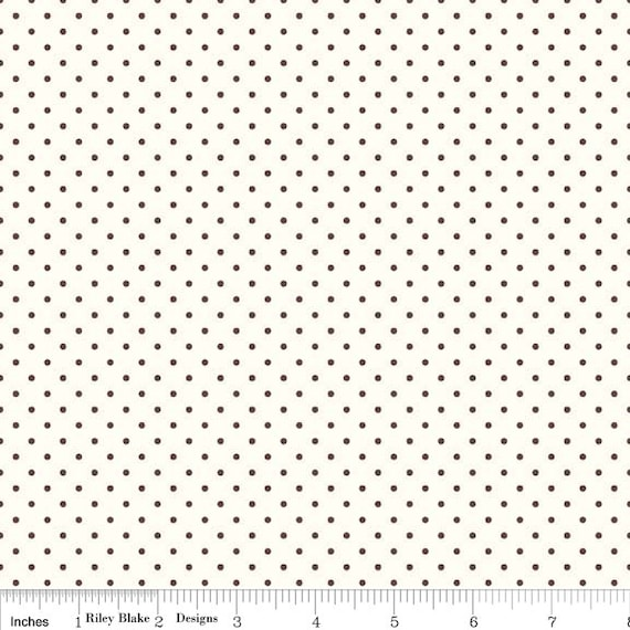 La Creme Swiss Dot BROWN by Riley Blake Designs- C600- 1/2 yard Increments, Cut Continuously