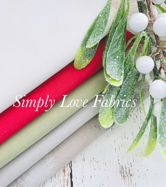 Bella Solids- 1/2 Yard Bundle (5 Fabrics) Coordinates with Christmas Morning by Lella Boutique for Moda