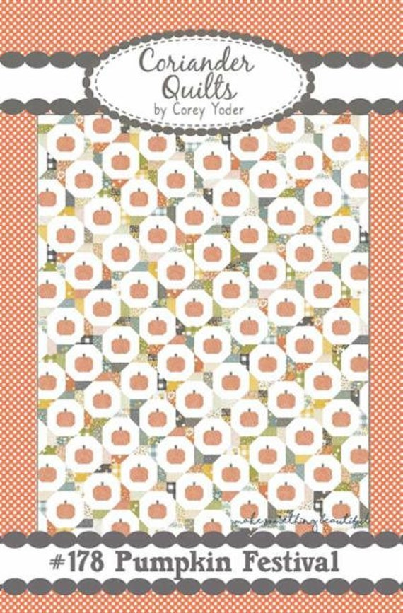 """Pumpkin Festival Quilt Kit with Paper Pattern- Cozy Up Fabric by Corey Yoder for Moda Fabrics- Finished Size 72"""" x 92"""""""