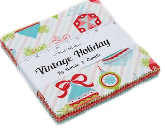 Charm Pack Vintage Holiday by Bonnie and Camille for Moda- 42 Fabrics