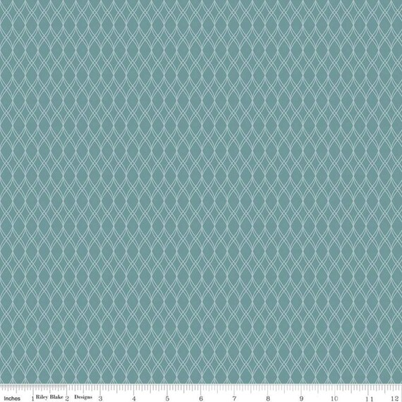 Primrose Hill - 1/2 Yard Increments, Cut Continuously Teal Garden Trellis - C11063  by Melanie Collette for Riley Blake Designs