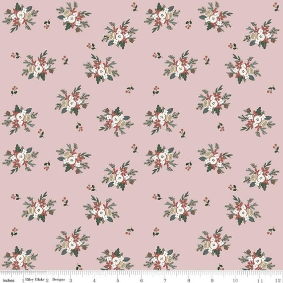 Warm Wishes -1/2 Yard Increments, Cut Continuously - (C10783 Pink Bouquet) by Simple Simon and Company