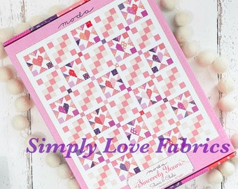 """Good Hearted BOXED Quilt Kit -(KIT37610 50"""" x 60"""")  Sincerely Yours by Sherri and Chelsi for Moda"""