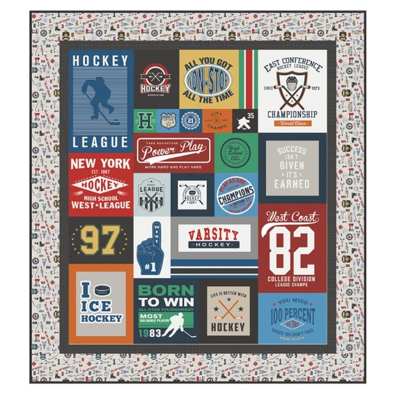 """Hockey Varsity Quilt Kit by Deena Rutter For Riley Blake Designs- Finished Size 73"""" x 81"""