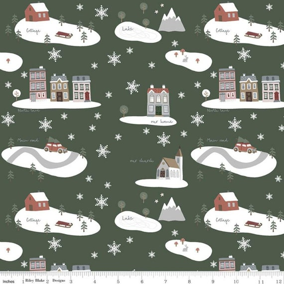 Warm Wishes -1/2 Yard Increments, Cut Continuously - (C10780 Forest Main) by Simple Simon and Company