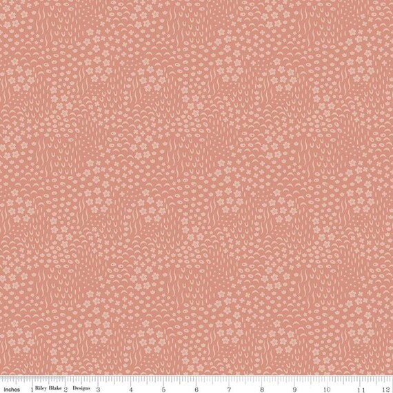 Primrose Hill - 1/2 Yard Increments, Cut Continuously Coral Meadow - C11064  by Melanie Collette for Riley Blake Designs
