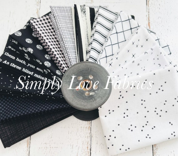 Basics Fat Quarter Bundle- 13 Black Fabrics- Riley Blake Designs