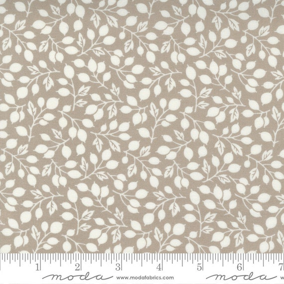 Pumpkins and Blossoms- 1/2 Yard Increments, Cut Continuously  (20421 16 Berry Vine Leaf - Pebble) by Fig Tree & Co. for Moda