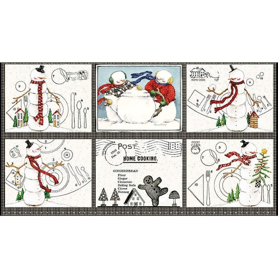 """Snow Sweet- Large Patch Placemat Panel- P9663 -24"""" x 43.5"""" Each- J Wecker Frisch for Riley Blake Designs"""