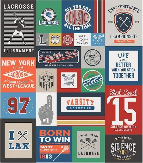 "Varsity Lacrosse Panel by Deena Rutter For Riley Blake Designs- P7961 -Panel Size 56"" x 64"""