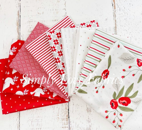 Christmas Morning- Fat Quarter Bundle (9 White/Red Fabrics) by Lella Boutique for Moda