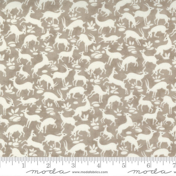 Pumpkins and Blossoms- 1/2 Yard Increments, Cut Continuously  (20422 16 Deer Forest - Pebble) by Fig Tree & Co. for Moda