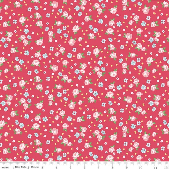 Notting Hill-1/2 Increments, Cut Continuously-(C10202 Raspberry Floral) by Amy Smart for Riley Blake Designs