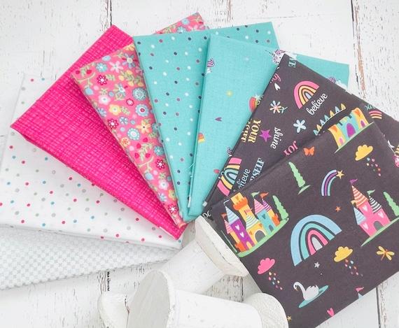 Unicorn Kingdom- Fat Quarter Bundle (8 Fabrics White) by Shawn Wallace for Riley Blake Designs