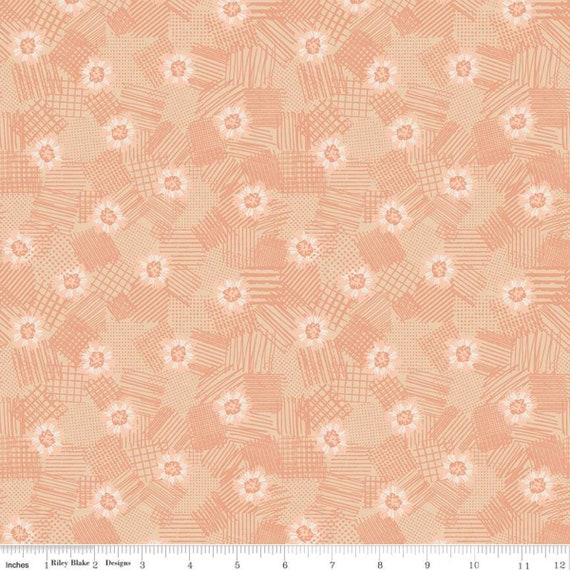 Meadow Lane- 1/2 yard Increments, Cut Continuously- (C10123 Melon Scribbled Floral) by Sara Davies for Riley Blake Designs