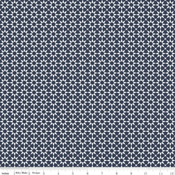 Gingham Foundry -1/2 Yard Increments, cut continuously - Navy Stars - C11135  by My Minds Eye for Riley Blake Designs