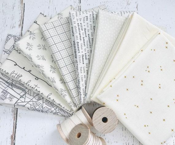 Fat Quarter Bundle (8 Fabrics) Cream Mixed Low Volume Fabrics with Cream Background