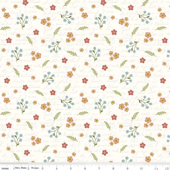 Primrose Hill - 1/2 Yard Increments, Cut Continuously Cream Field Notes - C11062  by Melanie Collette for Riley Blake Designs