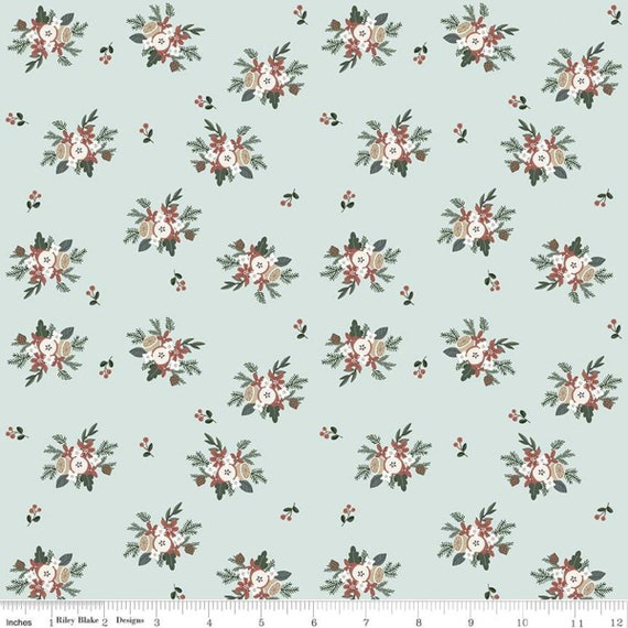 Warm Wishes -1/2 Yard Increments, Cut Continuously - (C10783 Sky Bouquet) by Simple Simon and Company