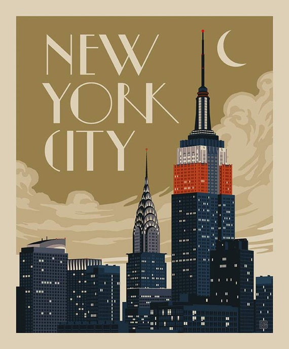 """Destinations New York Skyline Poster Panel- 36"""" x 43.5"""" - by Anderson Design Group for Riley Blake Designs- P10024"""