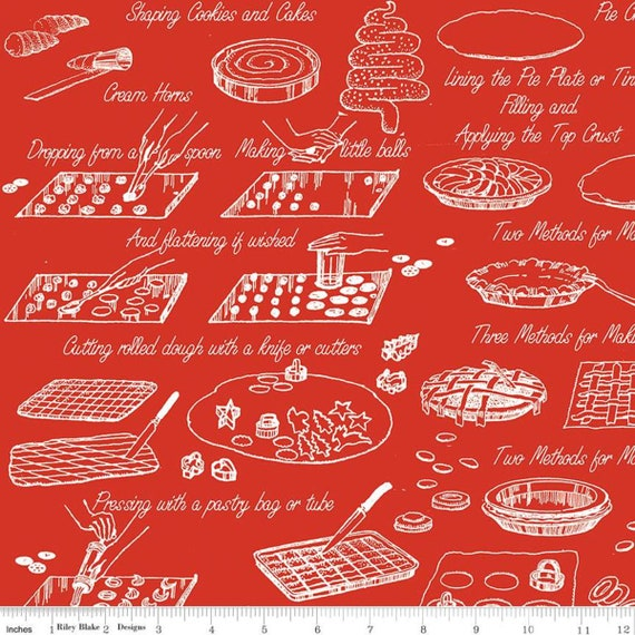 Snow Sweet- 1/2 Yard Increments Cut Continuously- C9674 Red Vintage Cook Book- J Wecker Frisch for Riley Blake Designs