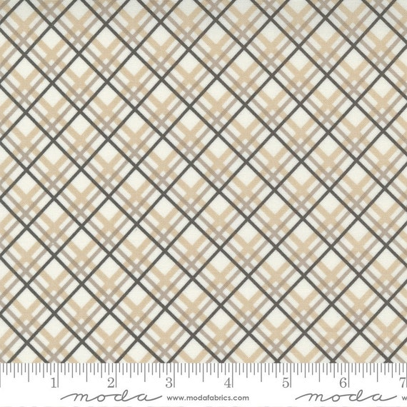 Pumpkins and Blossoms- 1/2 Yard Increments, Cut Continuously  (20424 26 Plaid Bias Check - Pebble) by Fig Tree & Co. for Moda