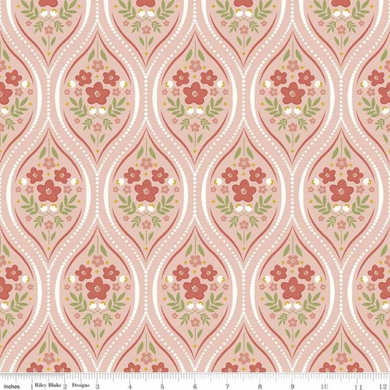 Primrose Hill -1/2 Yard Increments, Cut Continuously Blush Damask - C11061  by Melanie Collette for Riley Blake Designs