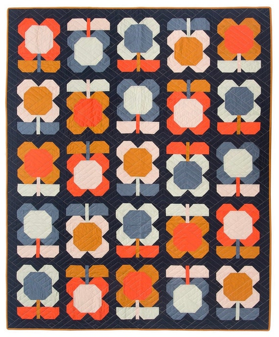 """Folk Blooms Quilt PAPER Pattern- Finished Size 56.5"""" x 69"""" - by Pen and Paper Patterns"""