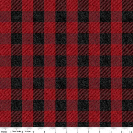 All About Plaid (1/2 Yard Increments Cut Continuously) C635 Red Buffalo Check - Riley Blake Designers