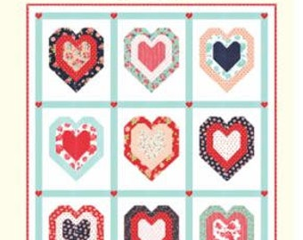 """Be Mine Pattern by Cotton Way for Moda- 73"""" x 85"""" Finished Quilt Size"""