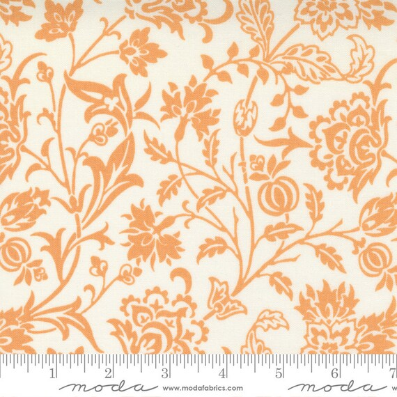 Pumpkins and Blossoms- 1/2 Yard Increments, Cut Continuously  (20420 22 Vine Damask - Vanilla Pumpkin) by Fig Tree & Co. for Moda