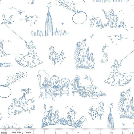 James and the Giant Peach by Riley Blake Designs- C7743 White Toile- 1/2 Yard Increments Cut Continuously