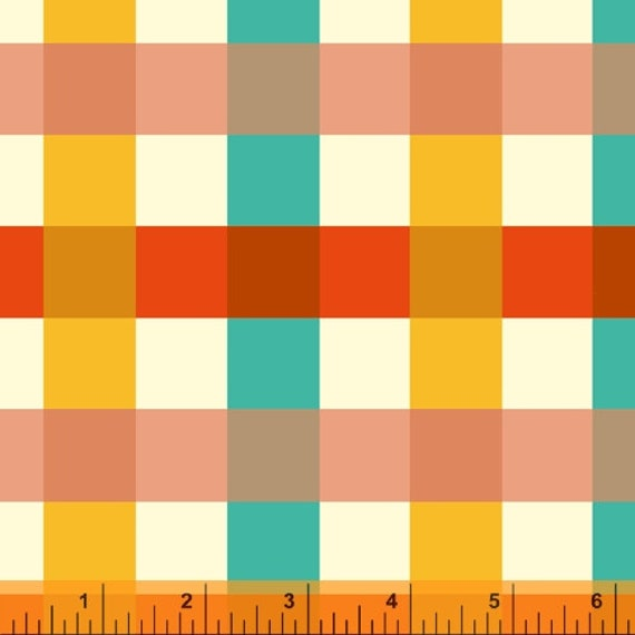 Malibu -1/2 Yard Increments, Cut Continuously (52148-1 Ocean Big Gingham)- Heather Ross for Windham Fabrics