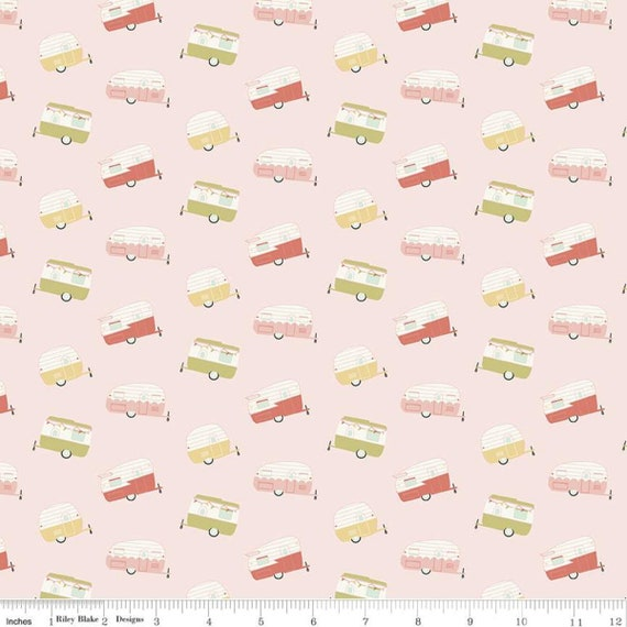 Joy in the Journey- 1/2 Yard Increments, Cut Continuously- C10682 Pink Campers by Dani Mogstad for Riley Blake Designs