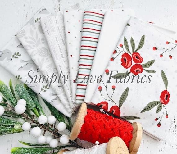Christmas Morning- Fat Quarter Bundle (7 White Fabrics) by Lella Boutique for Moda