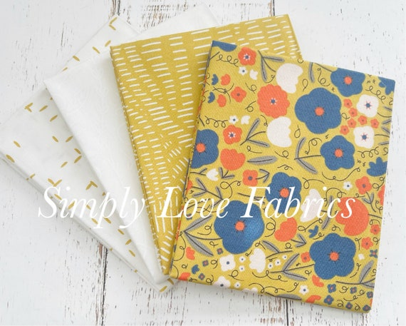 Words To Live By- Fat Quarter Bundle- 4 Fabrics Mustard -by Gingiber for Moda