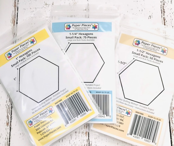 Hexagon Paper Pack- by Paper Pieces- Size Options Available