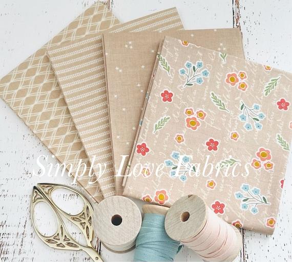 Primrose Hill -Fat Quarter Bundle- 4 Wheat  Fabrics by Melanie Collette for Riley Blake Designs
