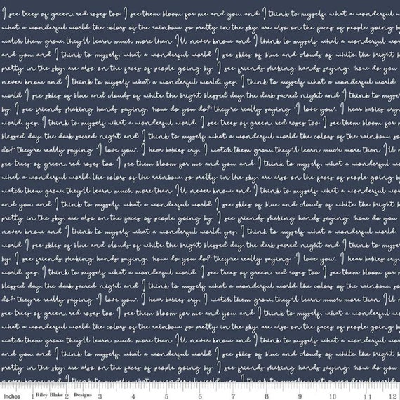 Gingham Foundry - 1/2 Yard Increments, cut continuously - Navy Text - C11137  by My Minds Eye for Riley Blake Designs