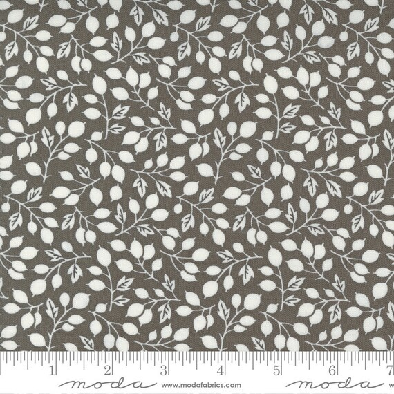 Pumpkins and Blossoms- 1/2 Yard Increments, Cut Continuously  (20421 17 Berry Vine Leaf - Charcoal) by Fig Tree & Co. for Moda