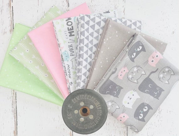 Purrfect Day - Fat Quarter Bundle (7 Fabrics) by My Minds Eye for Riley Blake Designs
