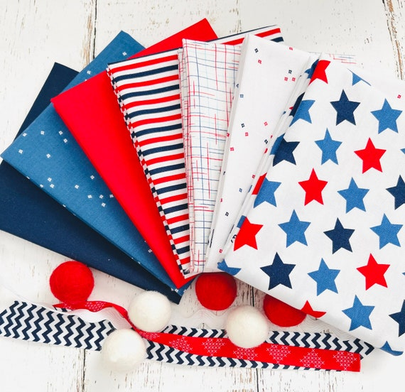 Fat Quarter Bundle- (7 Fabrics) Red White and Blue Basics by Riley Blake Designs