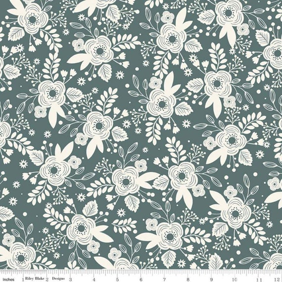 My Heritage- 1/2 Yard Increments, Cut Continuously (C9790 Teal Main) by My Minds Eye for Riley Blake Designs