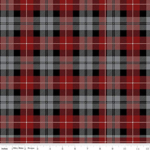 All About Plaid (1/2 Yard Increments Cut Continuously) C638 Red/Black Tartan - Riley Blake Designers